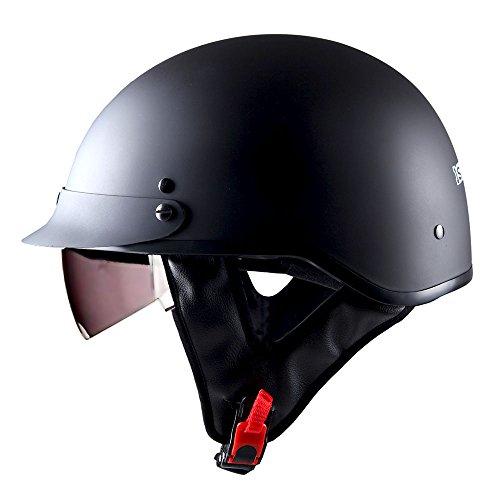 1Storm Motorcycle Half Face Helmet Mopeds Scooter Pilot with retratable Inner Smoked Visor Matt Black