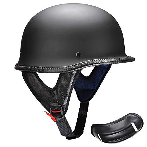 AHR Open Face DOT Motorcycle Half Helmet German Style Cruiser Chopper Biker Skull Cap Helmet Matte Black L