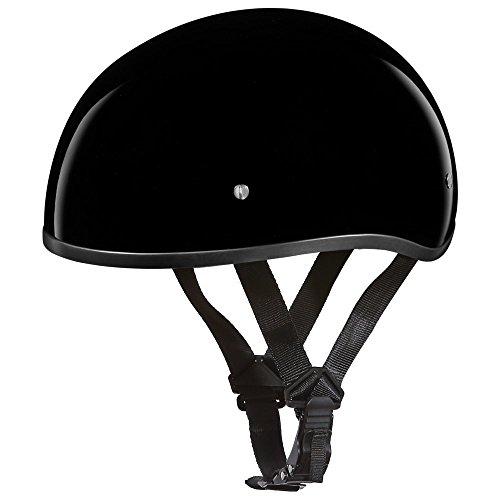 Daytona Helmets Motorcycle Half Helmet Skull Cap- Hi-Gloss Black WO Visor 100 DOT Approved