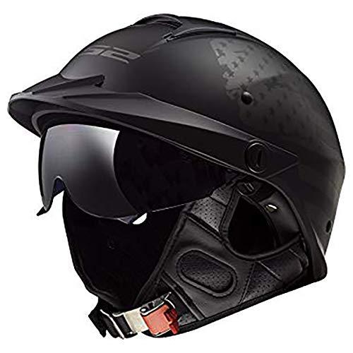 LS2 Helmets Rebellion Motorcycle Half Helmet 1812 Black Flag - Medium