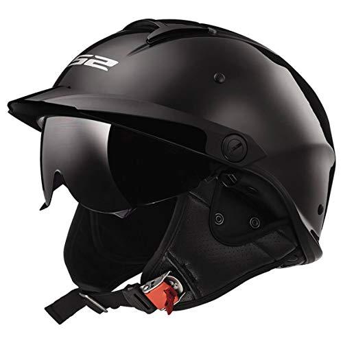 LS2 Helmets Rebellion Motorcycle Half Helmet Black Chrome - Medium