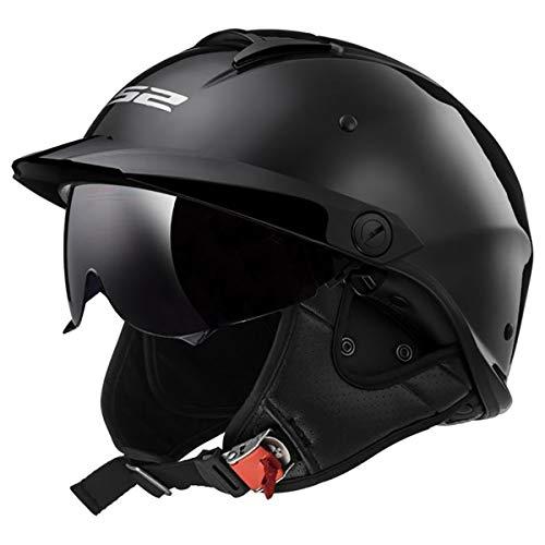 LS2 Helmets Rebellion Motorcycle Half Helmet Gloss Black - Large