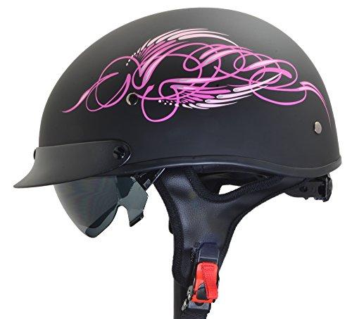 Vega Helmets Unisex-Adults Half Helmet Pink Scroll on Matte Black Medium - 7823-053