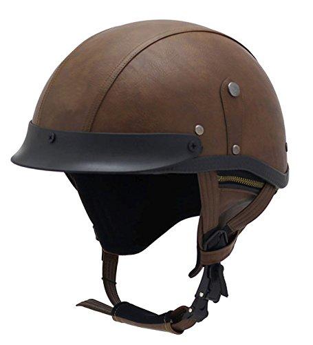 Woljay Leather Motorcycle Goggles Vintage Half Helmets Motorcycle Biker Cruiser Scooter Touring Helmet Brown