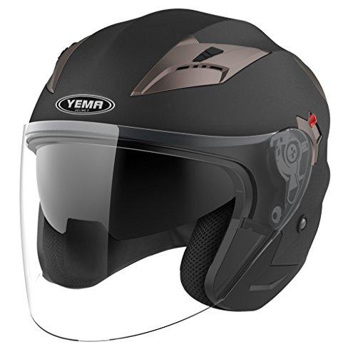YEMA Unisex Motorcycle Open Face DOT Approved YM-627 Motorbike Moped Jet Bobber Pilot Crash Chopper 34 Half Helmet with Sun Visor for Adult Men Women-Matte BlackXXL
