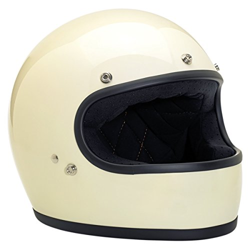 Biltwell Gringo Full Face Motorcycle Helmets Gloss Vintage White - Large