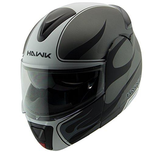 Hawk H-66 Blaze Matte GreyWhite Dual Visor Modular Motorcycle Helmet - Large