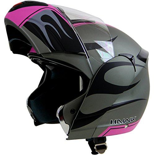 Hawk H-6656 Blaze Matte GreyPink Dual-Visor Modular Motorcycle Helmet - Medium