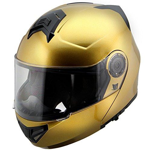 Hawk H-70 Solid Gold Modular Motorcycle Helmet - Large