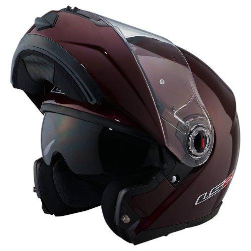 LS2 Helmets FF386 A Modular Motorcycle Helmet Solid Wineberry XXX-Large