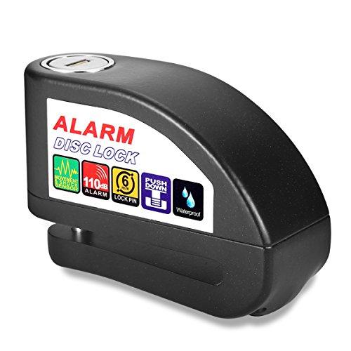 Alarm Disc Lock Sungwoo Anti Theft 110db Motorcycle Alarm Lock in Water Resistant Design Black