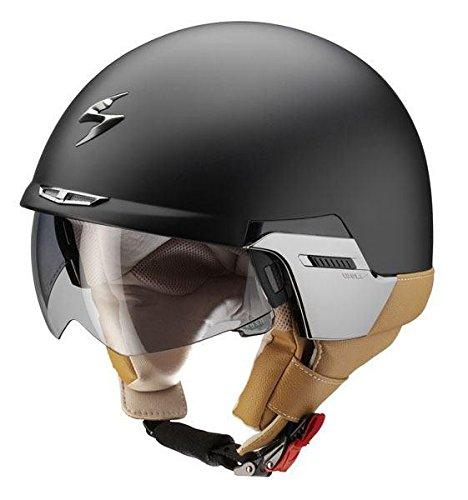 Scorpion Exo 100 Padova DVS Open Face Scooter Motorcycle Helmet Matt Black Tan M