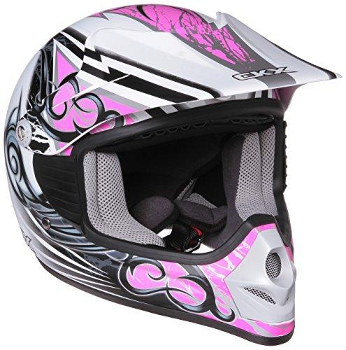 CKX 102113 TX-218 Whip Juniors Kids Youth Full Moto Helmet WhitePinkSilver Matte Medium
