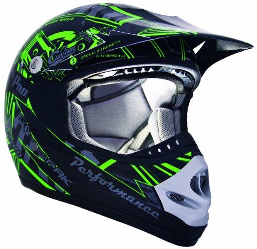CKX 183923 TX-218 Pursuit Adult Full Moto Helmet GreenBlack Medium