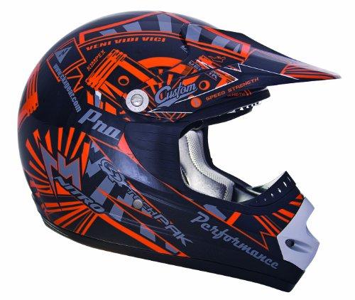 CKX 183942 TX-218 Pursuit Adult Full Moto Helmet OrangeBlack Small
