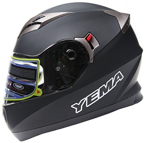Motorcycle Full Face Helmet DOT Approved - YEMA YM-829 Motorbike Moped Street Bike Racing Crash Helmet with Sun Visor for Adult Men and Women - Matte BlackLarge