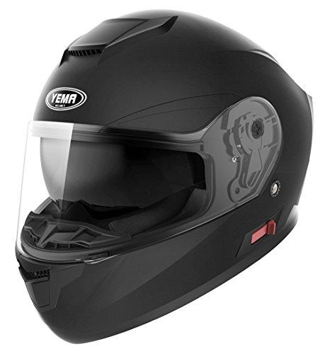 Motorcycle Full Face Helmet DOT Approved - YEMA YM-831 Motorbike Moped Street Bike Racing Crash Helmet with Sun Visor for Adult Men and Women - Matte BlackMedium