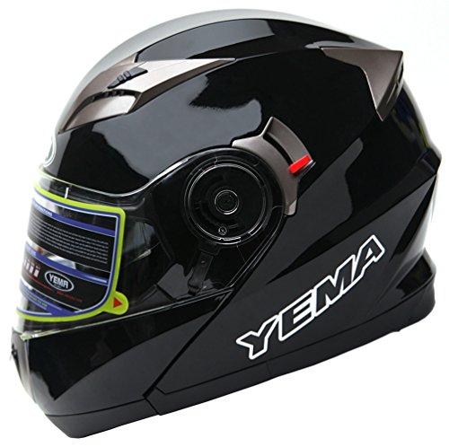 Motorcycle Modular Full Face Helmet DOT Approved - YEMA YM-925 Motorbike Moped Street Bike Racing Crash Helmet with Sun Visor for Adult Men and Women - Black Medium