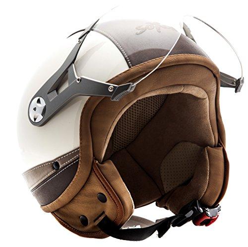 SOXON SP-325 Urban creme - Jet Vespa Scooter Motorcycle Moto Helmet Pilot Leather Urban - XS 53-54cm
