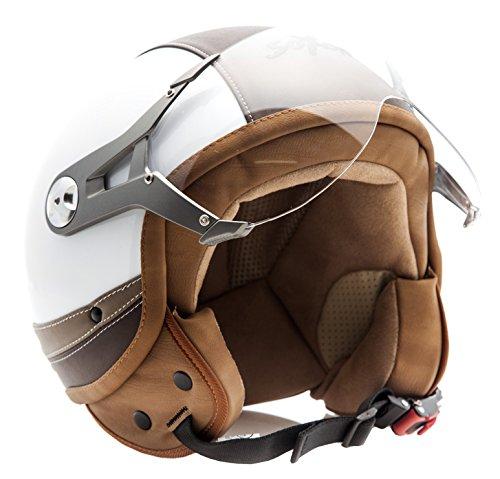 SOXON SP-325 Urban white - Jet Vespa Scooter Motorcycle Moto Helmet Pilot Leather Urban - XS 53-54cm