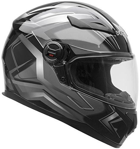 Vega Helmets AT2 Street Motorcycle Helmet for Men Women – DOT Certified Full Face Motorbike Helmet for Cruisers Sports Street Bike Scooter Touring Moped Moto  Black Flash Graphic Small