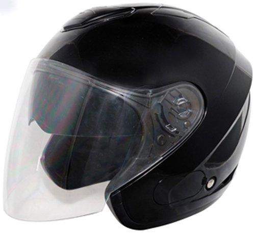 THH T-376 Open Face Helmet Black Large