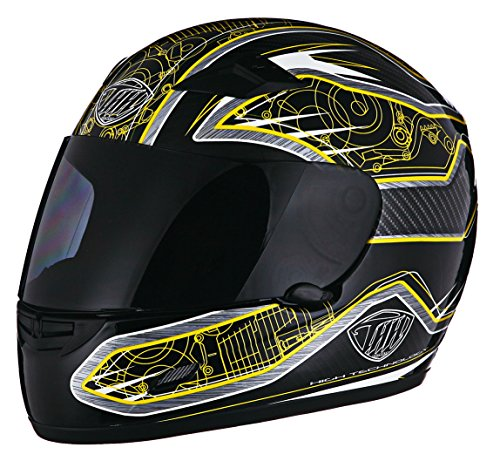 THH TS-39 Motor Helmet Black and Yellow Large