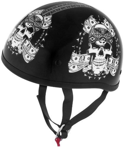 Skid Lid Helmets Original Thug Skull Helmet  Helmet Type Half Helmets Helmet Category Street Distinct Name Thug Skull Primary Color Black Size XL Gender MensUnisex 646972