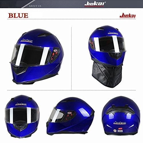 DOT Approved Motorcycle Street Bike Helmet Open Face Helmets Full Face Helmet JK-313 with Removable Winter Neck Scarf Flip up Dual Visors for Adult Men and WomenBlue L