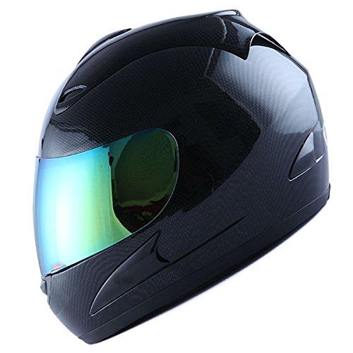Motorcycle Full Face Helmet Street Bike Adult Carbon Fiber Black  Bonus One Clear Lens