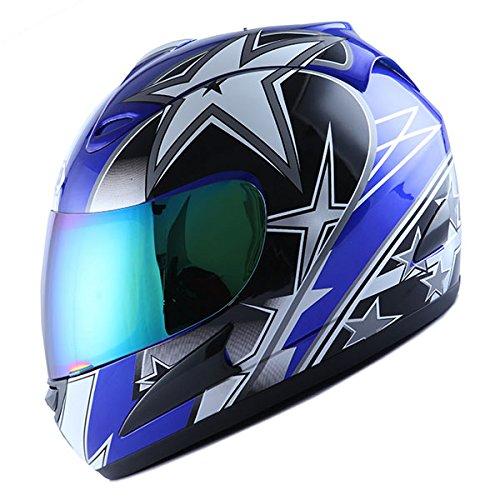 Motorcycle Street Bike Blue Star Full Face Adult Helmet