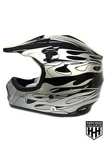 SmartDealsNow DOT Youth Kids Helmet for Dirtbike ATV Motocross MX Offroad Motorcyle Street bike Flat Matte Black Helmet Large Black Flame