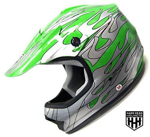 SmartDealsNow - HHH DOT Youth Kids Helmet for Dirtbike ATV Motocross MX Offroad Motorcyle Street bike GREEN FLAME Large