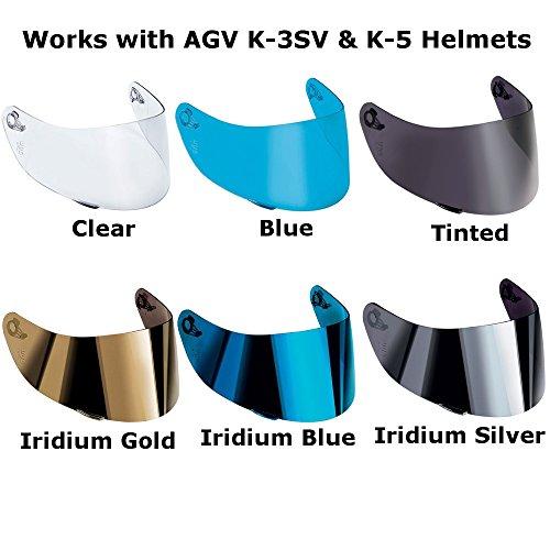 AGV K-3 SV K-5 Motorcycle Helmet Shield Visor Windscreen Clear Tint ALL SIZES MLLXLXXL Iridium Silver – GT2
