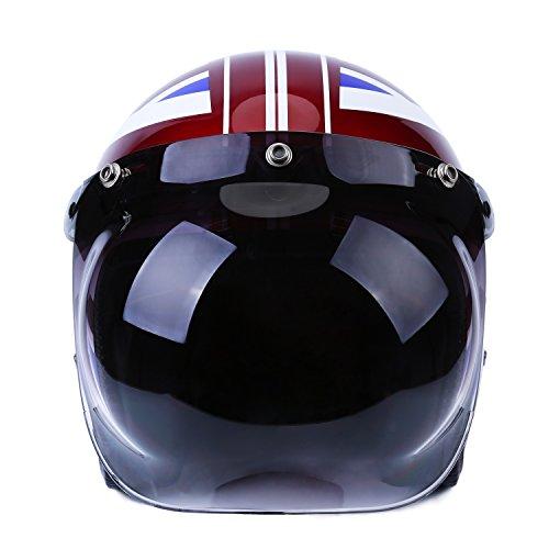 Autvivid Motorcycle Bubble Helmet Shield Smoke Tint Bubble Shield Motor 3-Snap Flip Up Face Wind Shield Lens Smoke One Size Grey