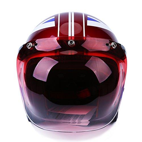 Autvivid Motorcycle Bubble Helmet Shield Smoke Tint Bubble Shield Motor 3-Snap Flip Up Face Wind Shield Lens Smoke One Size Pink