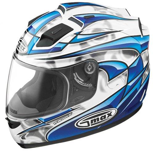 GMAX GM 68S Full Face Motorcycle Helmet WhiteBlackBlue wLED Lights Large