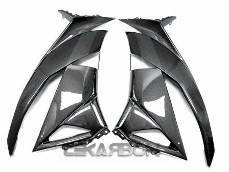 2009 - 2012 Kawasaki ZX6R Carbon Fiber Large Side Fairings