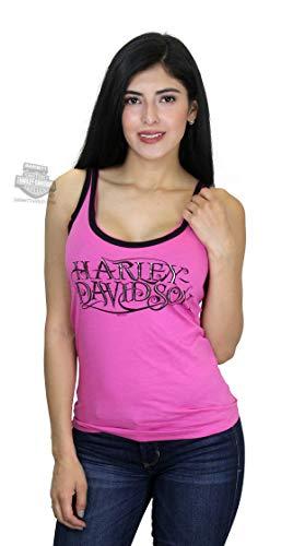 HARLEY-DAVIDSON Womens H-D Inset Raw Edge Foil Print Pink Sleeveless Tank Large