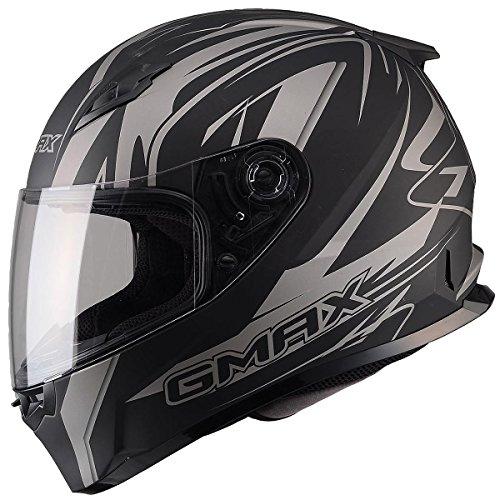 Gmax FF49 Derk Full Face Street Helmet Flat BlackSilver XXX-Large
