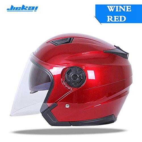 JIEKAI Motorcycle Helmet JK-516 Open Face Motorbike Street Bike Moped 34 Half Helmet DOT Approved with Sun Visor and Washable Liner for Men and Women Wine Red M