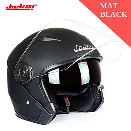 Motorcycle Helmet Open Face Street Bike 34 Half Helmet JK-512 DOT Approved with Sun Visor and Washable Liner for Adult Men and WomenMatte BlackXXL