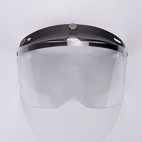 Black 3-Snaps Flip-Up Visor Clear Lens Full Face Shield Replacement For Open Half Face Helmet Motorcycle Bike