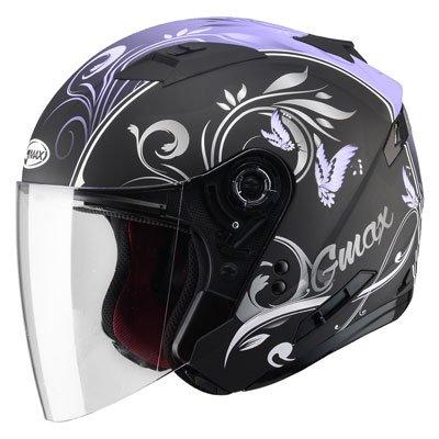 GMax Womens OF77 Butterflies Open Face Helmet Medium Flat BlackPurple