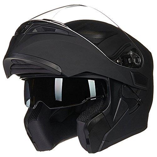 ILM Motorcycle Dual Visor Flip up Modular Full Face Helmet DOT with 6 Colors XL MATTE BLACK