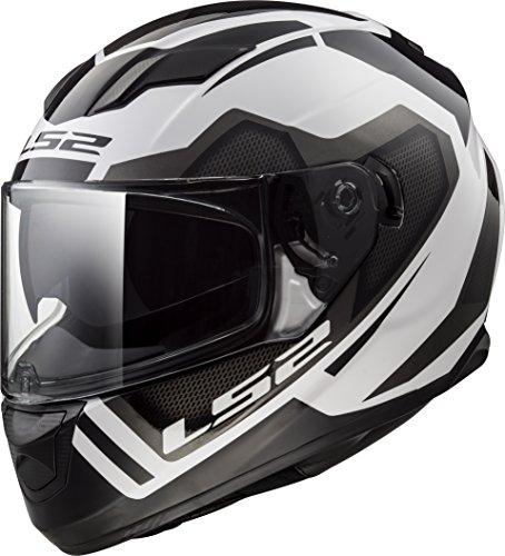LS2 Helmets Stream Axis White Graphic Unisex-Adult Full-Face-Helmet-Style Motorcycle Helmet White Small