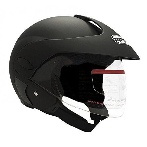 MMG Motorcycle Open Face Helmet DOT Street Legal - Flip Up Clear Visor - Matte Black 203 XL
