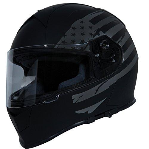 TORC T14 Mako Flag Full Face Helmet Flat Black Large