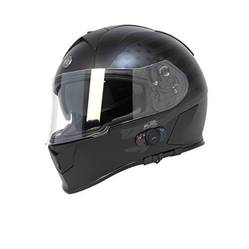 Torc T14B Bluetooth Integrated Mako Full Face Helmet with Flag Graphic Flat Black Medium