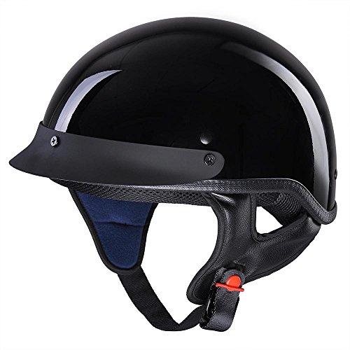 Yescom Motorcycle Half Face Helmet DOT Approved Bike Cruiser Chopper High Gloss Black M
